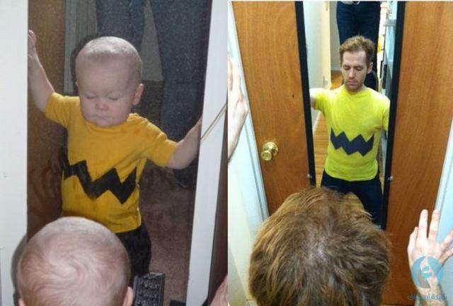 رجل يقلد طفل
